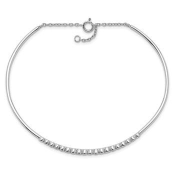 Sterling Silver Rhodium Plated Children's CZ Bangle with Safety Chain