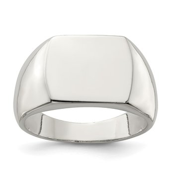 Sterling Silver 12x15mm Open Back Signet Ring