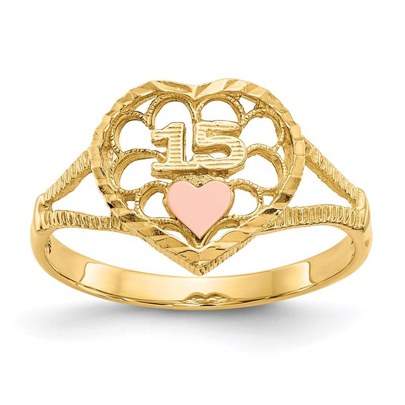 Quality Gold 14K Two-tone Diamond Cut 15 Heart Ring