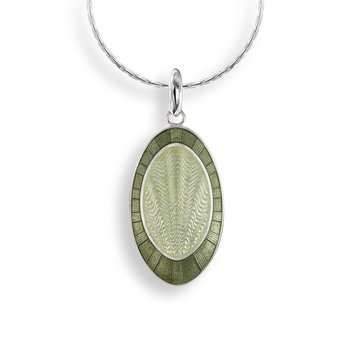 Green Oval Necklace.Sterling Silver