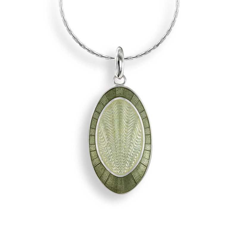 Nicole Barr Designs Green Oval Necklace.Sterling Silver