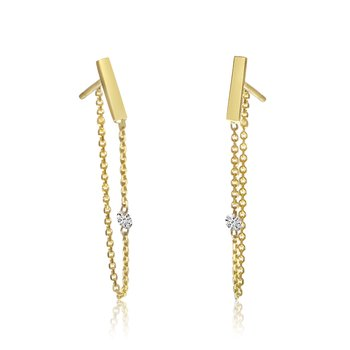 14K Yellow Gold Single Diamond Chain Earrings