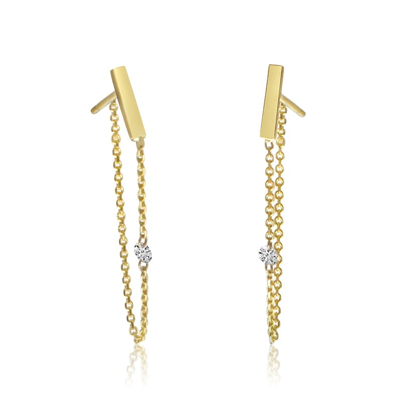 Color Merchants 14K Yellow Gold Single Diamond Chain Earrings