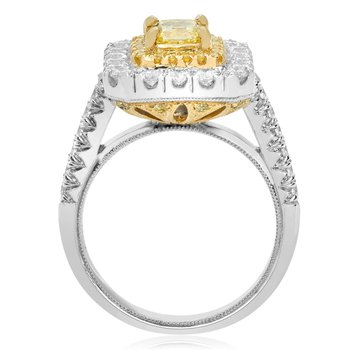 Fancy Yellow Diamond Octagon Ring