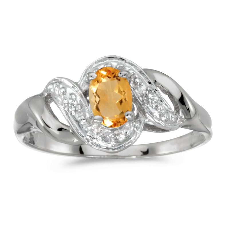 Color Merchants 10k White Gold Oval Citrine And Diamond Swirl Ring