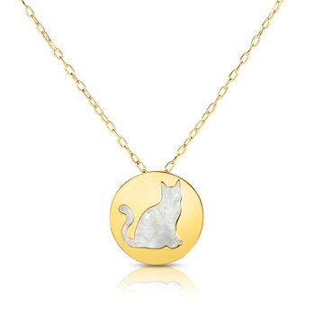 14K Gold Cat Mother of Pearl Necklace