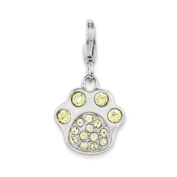 Sterling Silver Rhodium-plated w/Lobster Clasp Enameled Paw Print Charm