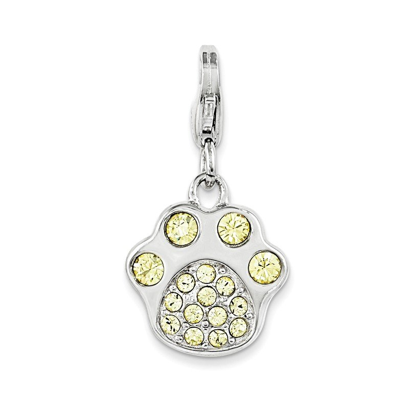Quality Gold Sterling Silver Rhodium Enameled Paw Print w/Lobster Clasp Charm