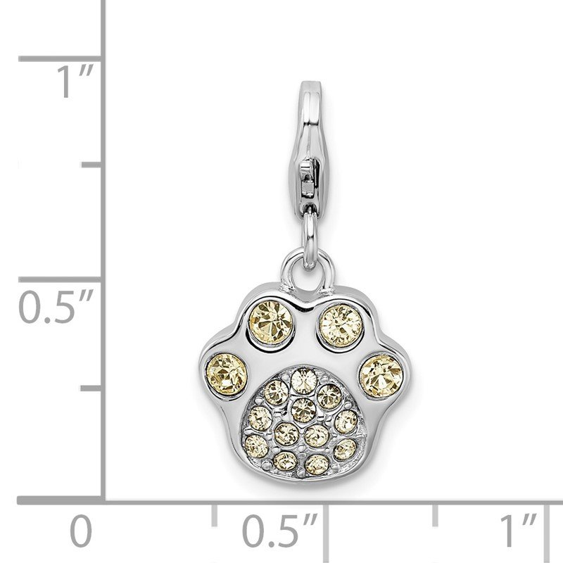 Quality Gold Sterling Silver Rhodium-plated w/Lobster Clasp Enameled Paw Print Charm