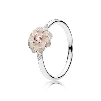 Blooming Dahlia Ring, Cream Enamel, Clear CZ & Blush Pink Crystals