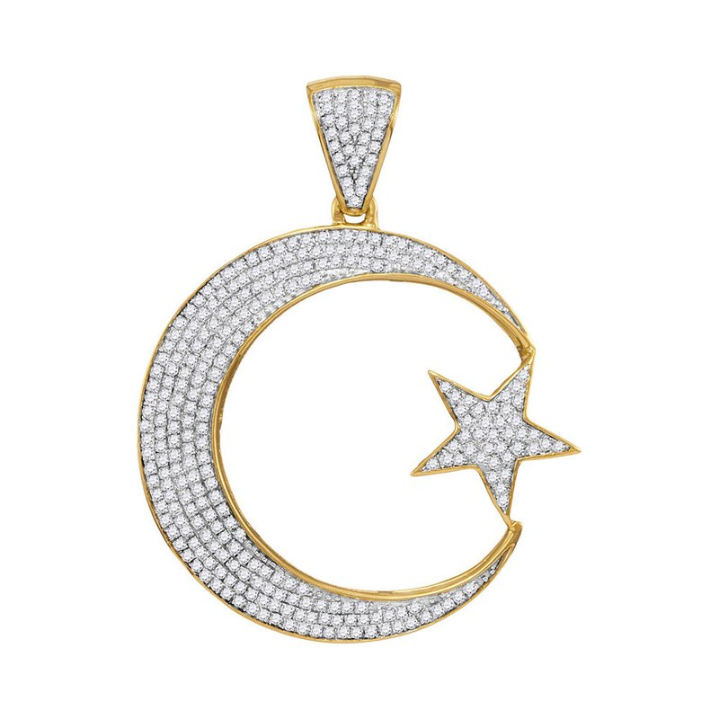 Kingdom Treasures 10kt Yellow Gold Mens Round Diamond Star & Crescent Charm Pendant 3/4 Cttw