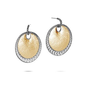 Dot Large Disc Earring in Hammered 18K Gold and Silver
