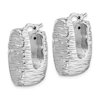 Sterling Silver Rhodium-plated Polished/Textured Hollow Hoop Earrings