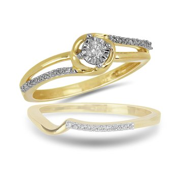 10K WG Diamond Mini Split Shank Ring with Miracle Set Center Dia with Fitting Band