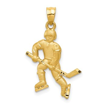 14K Satin D/C Hockey Player Pendant