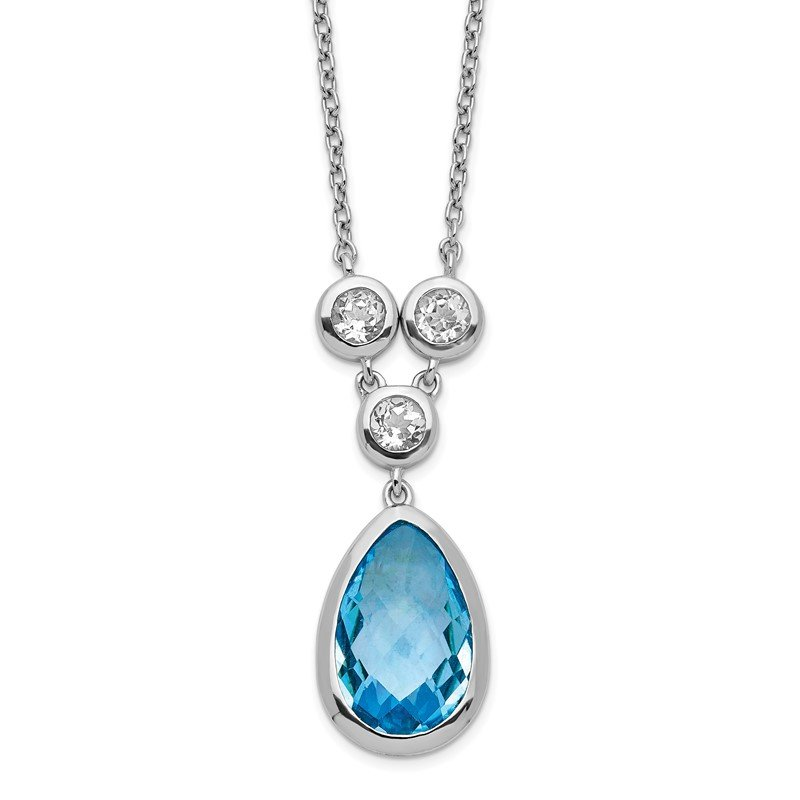 Quality Gold Sterling Silver Rhodium-plated White & Blue Topaz w/ 2in ext. Necklace