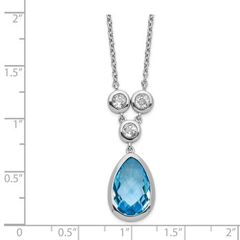 Sterling Silver Rhodium-plated White & Blue Topaz w/ 2in ext. Necklace
