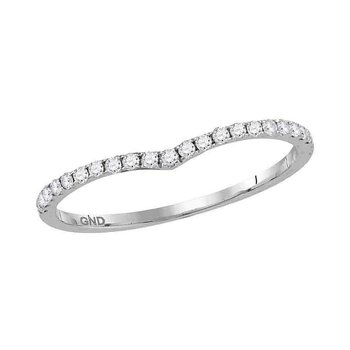 14kt White Gold Womens Round Diamond Slender Chevron Stackable Band Ring 1/6 Cttw