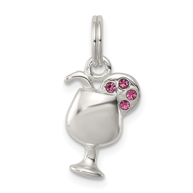 Quality Gold Sterling Silver Pink Preciosa Accented Wine Glass Charm