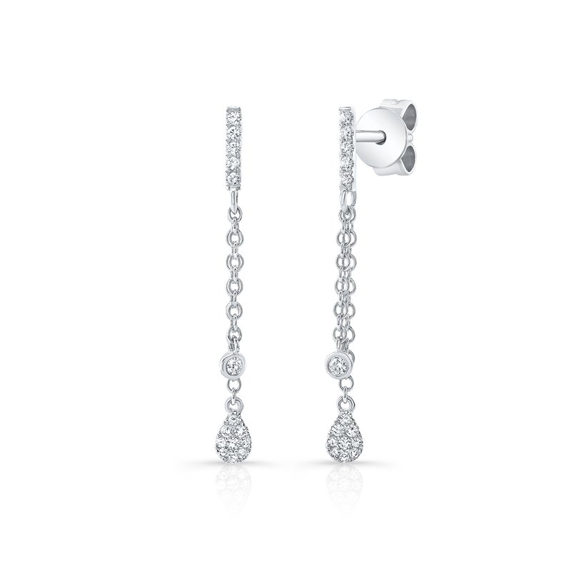 Robert Palma Designs White Gold Dangling Pear Shape Earrings