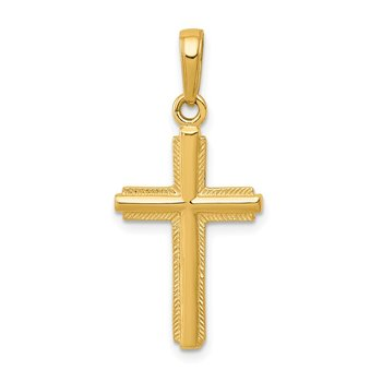 14K Polished Cross With Striped Border Pendant