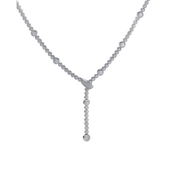 18K White Gold Diamond Lariat Necklace