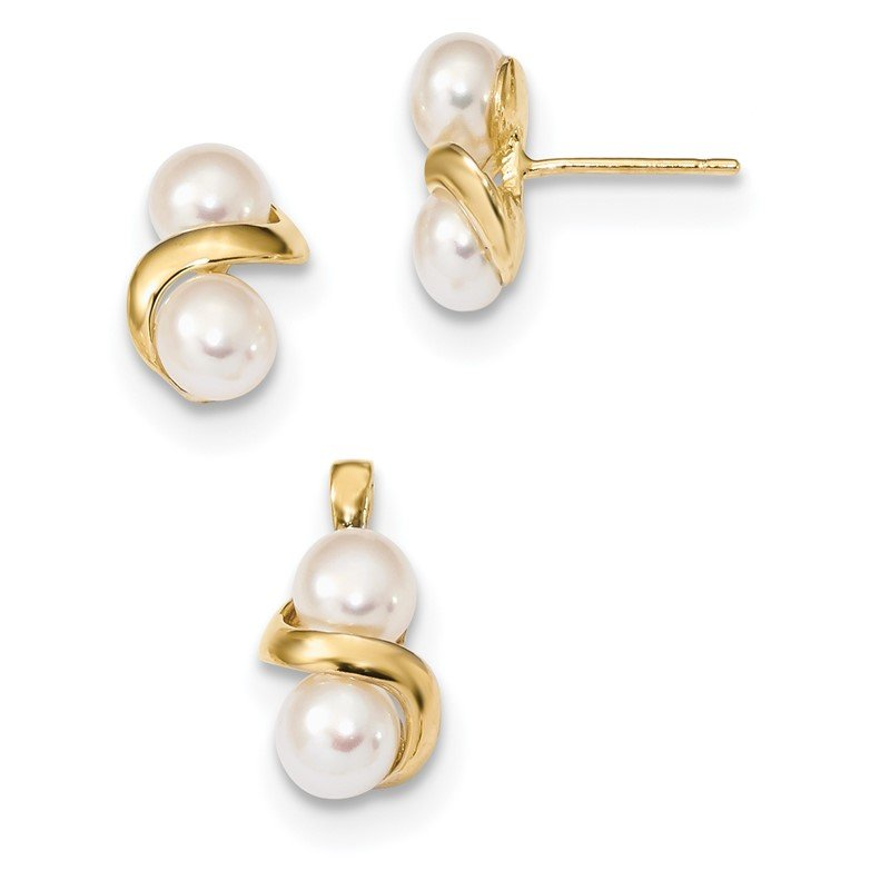 Quality Gold 14k 5-6mm White Button FWC Pearl Earring and Pendant Set