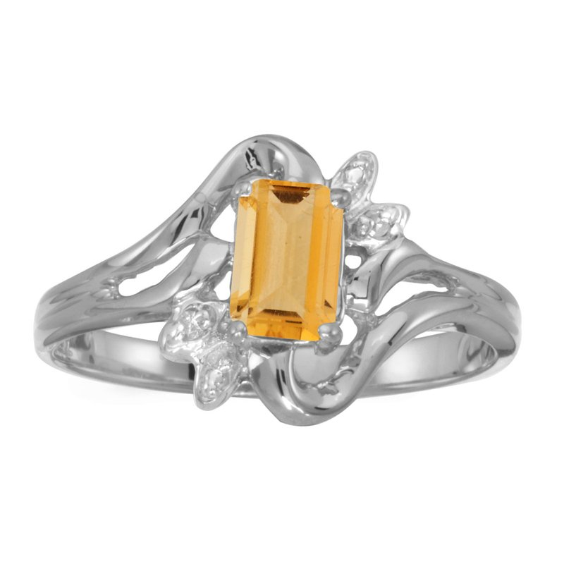 Color Merchants 14k White Gold Emerald-cut Citrine And Diamond Ring