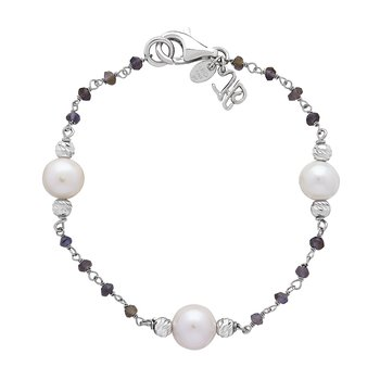 Honora Sterling Silver 8-9mm White Ringed Freshwater Cultured Pearl Faceted Iolite Tin Cup Bracelet