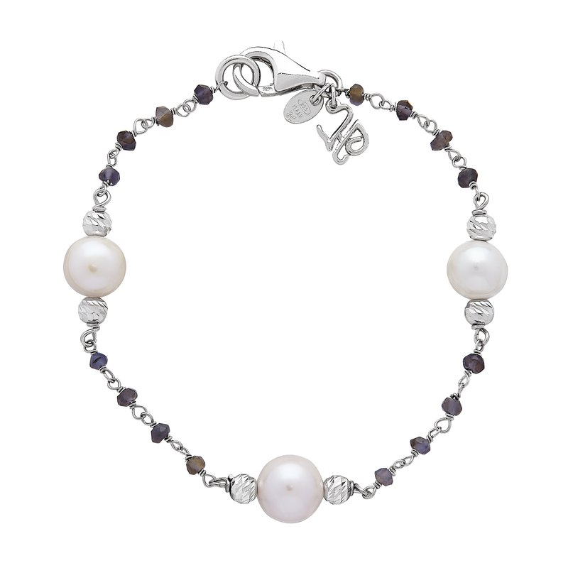 Honora Honora Sterling Silver 8-9mm White Ringed Freshwater Cultured Pearl Faceted Iolite Tin Cup Bracelet
