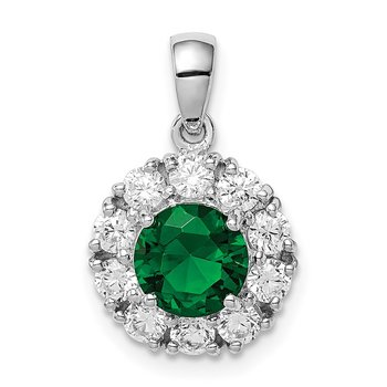 Sterling Silver Rhodium-plated Green Glass and CZ Halo Pendant