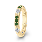 Carizza 14K Two-Tone Gold Round Diamond and Green Tsavorite Wedding Band