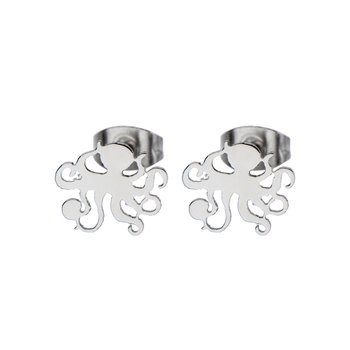 Steel Octopus Cut Out Stud