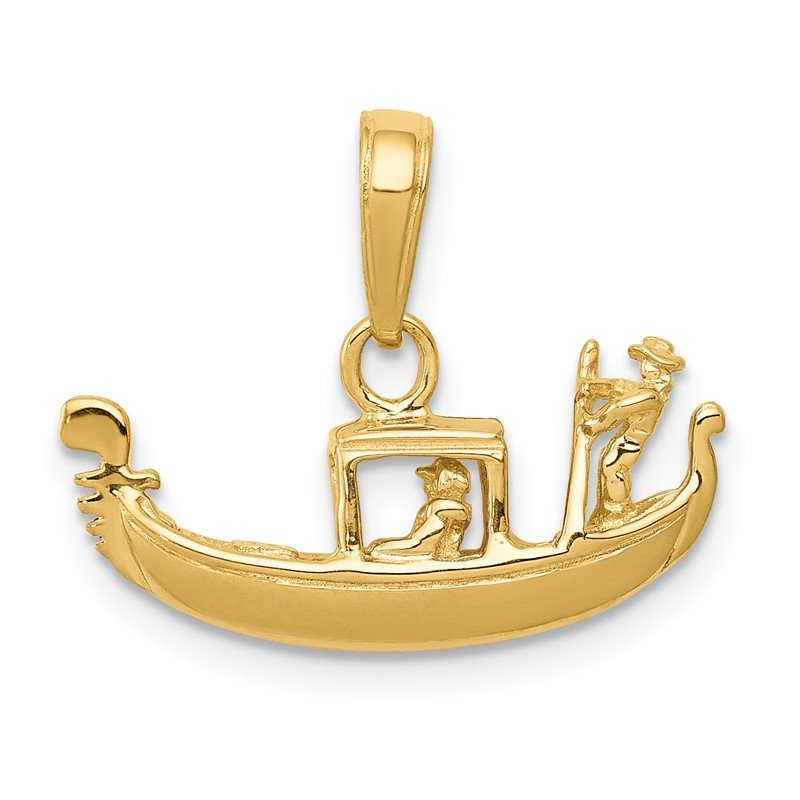 Quality Gold 14K Solid Polished 3-D Gondola Pendant
