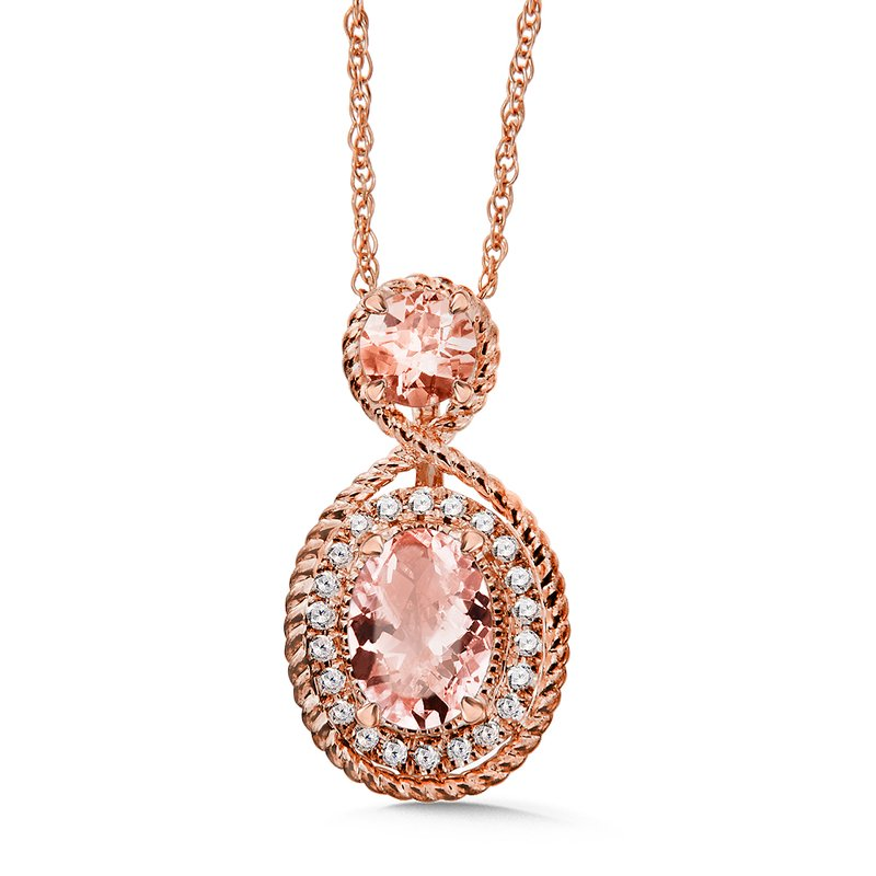 Colore Oro Morganite & Diamond Pendant in 14k Rose Gold