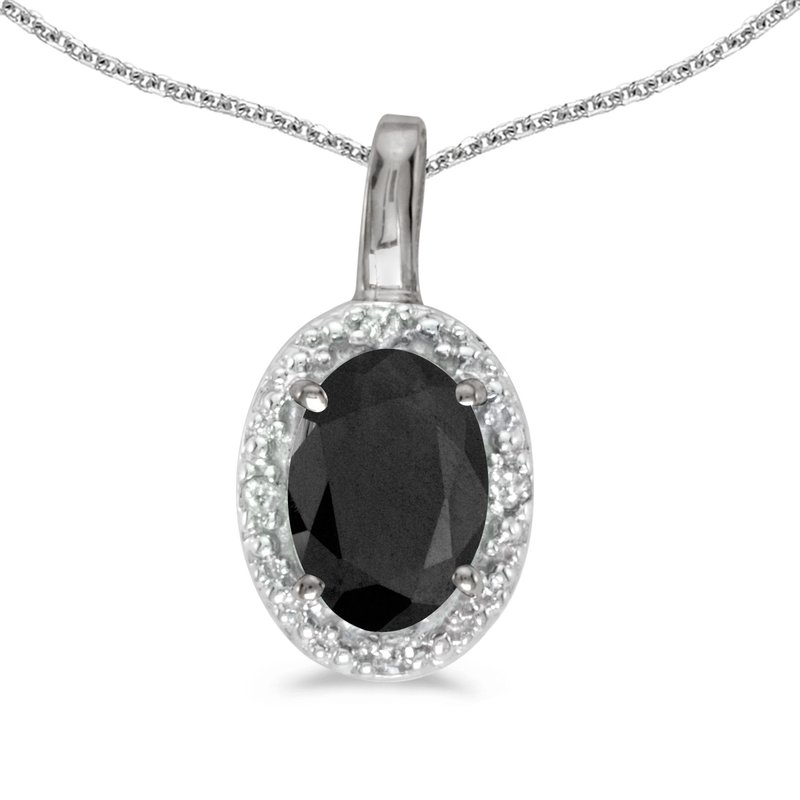 Color Merchants 10k White Gold Oval Onyx And Diamond Pendant