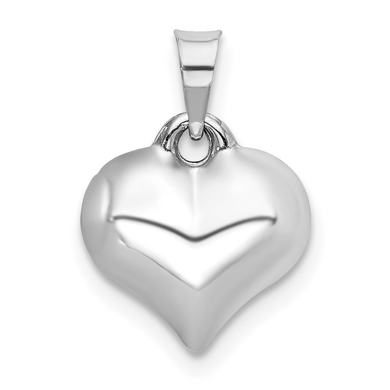 Quality Gold 14K White 3-D Puffed Heart Pendant