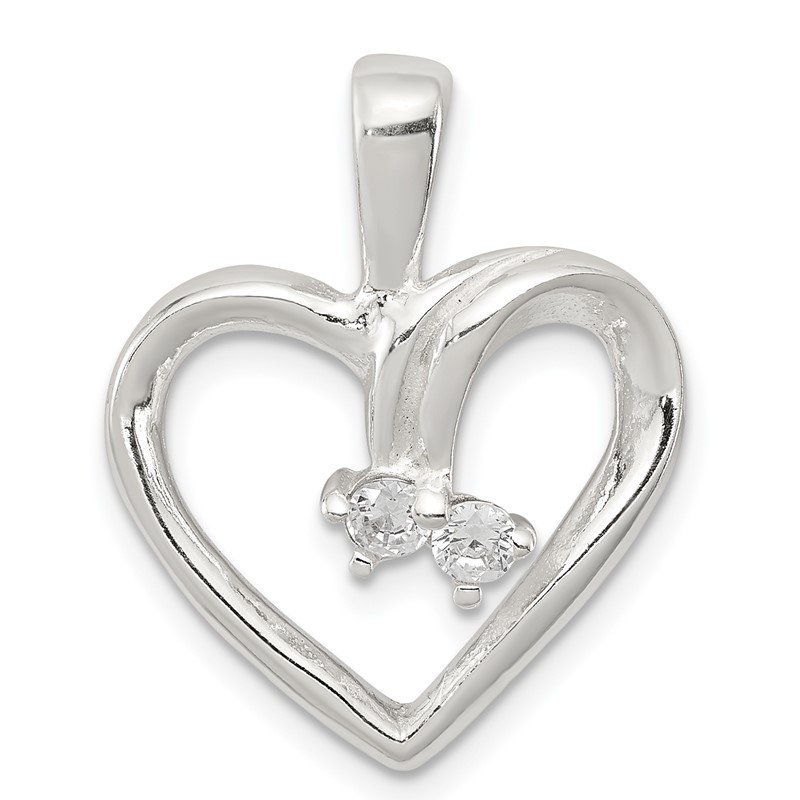 Quality Gold Sterling Silver CZ & Heart Pendant