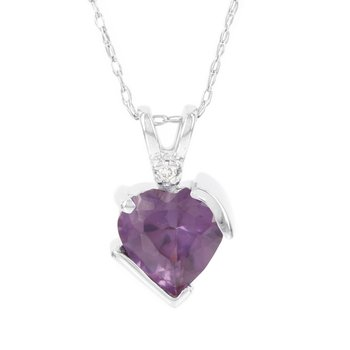 10k White Gold Simulated Alexandrite Diamond Accent Heart Pendant