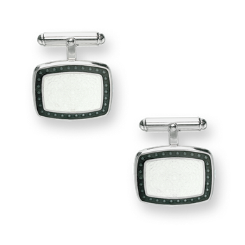 Sterling Silver T-Bar Cufflinks-White.