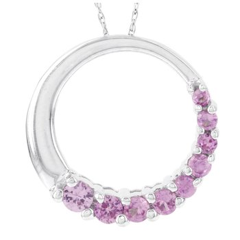 10k White Gold Created Pink Sapphire Circle Pendant