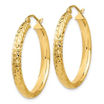 14K Diamond-cut 3.5x28mm Hollow Hoop Earrings