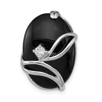 Sterling Silver Rhodium Plated Onyx and CZ Slide