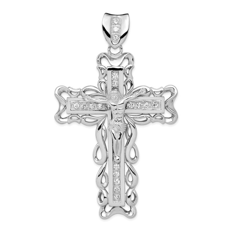 Quality Gold Sterling Silver Rhodium-plated CZ Crucifix Pendant