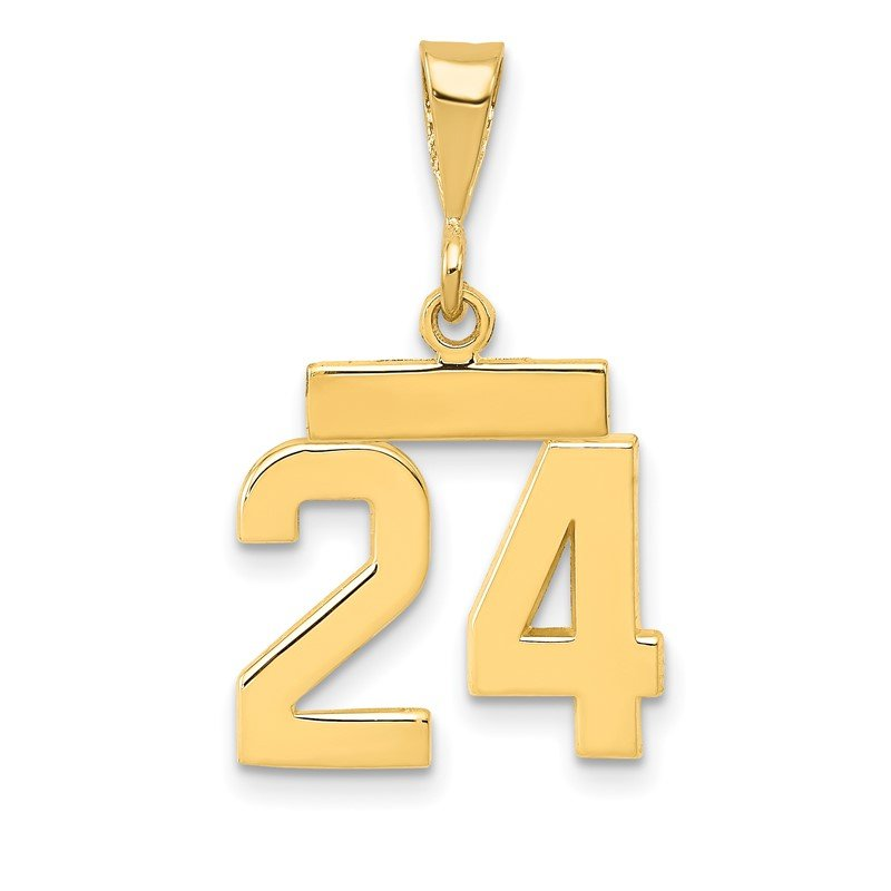 Quality Gold 14k Small Polished Number 24 Charm
