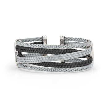 Black & Grey Cable Petite Interlaced Bracelet