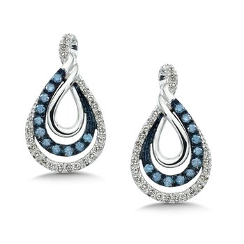 Pave set Blue and White Diamond Entwined Earrings 10k White Gold  (1/2 ct. tw.)