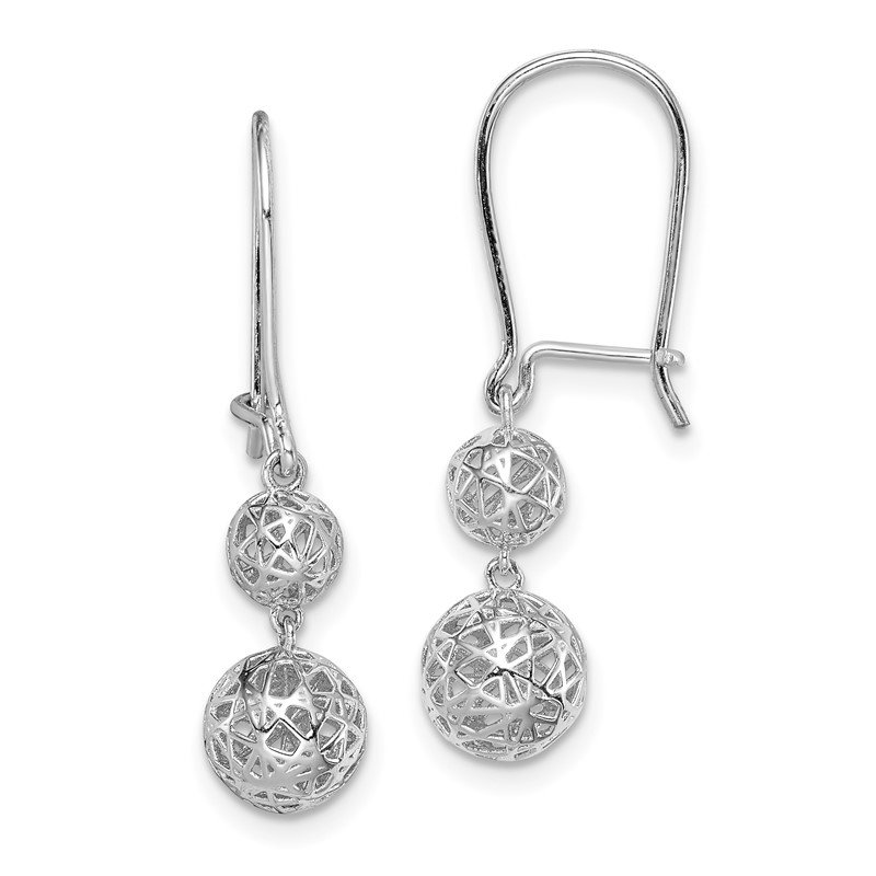 Quality Gold Sterling Silver Rhodium-plated Filigree Ball Dangle Earrings