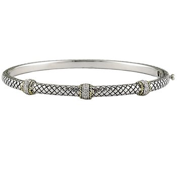 18kt and Sterling Silver Pave Diamond Barrel Stations Bangle Bracelet