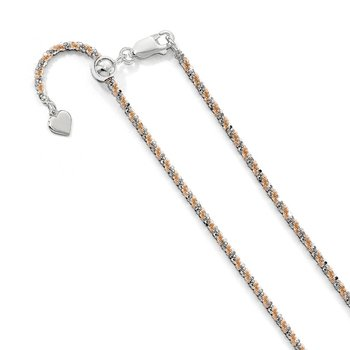Leslie's Sterling Silver 2 mm Rose-tone Adjustable Cyclone Chain